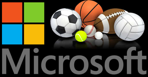 Microsoft logo with sports balls