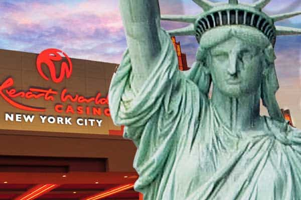 Statue of Liberty in front of a casino
