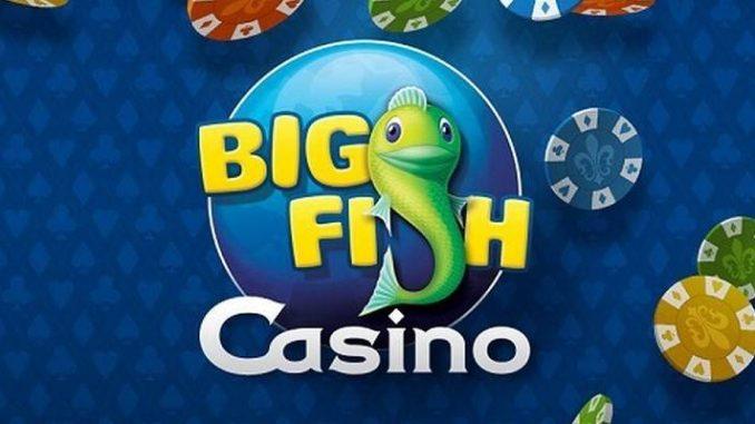 big fish games casino app menu with logo and virtual chips