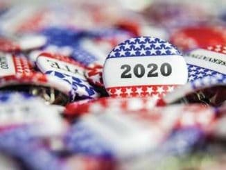 2020 election buttons in a pile