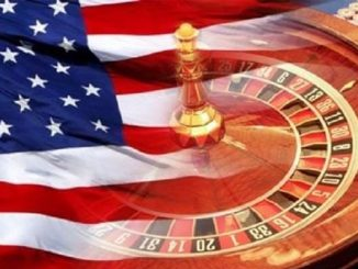 roulette table and casino chips overlaid with american flag