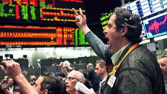 man yelling on stock market floor
