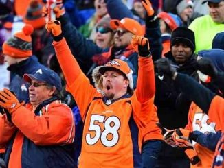 denver broncos fan cheering in nfl crowd