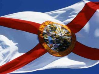 florida state flag with blue sky